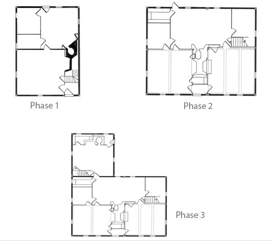 Figure 2. Plans of the three phases of construction of the Hancock-Mitchell House. Drawings by The Cooper Group, redrawn by Myron O. Stachiw.