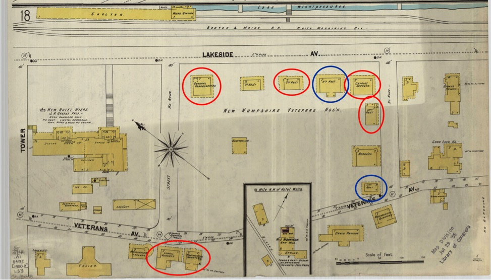 Fig. 1 1902 Sanborn Fire Insurance Map of Laconia, NH, showing NHVA campus. Extant buildings are circled blue indicates those which the team fully documented and red indicates those which the team did not measure, but photographed and explored.