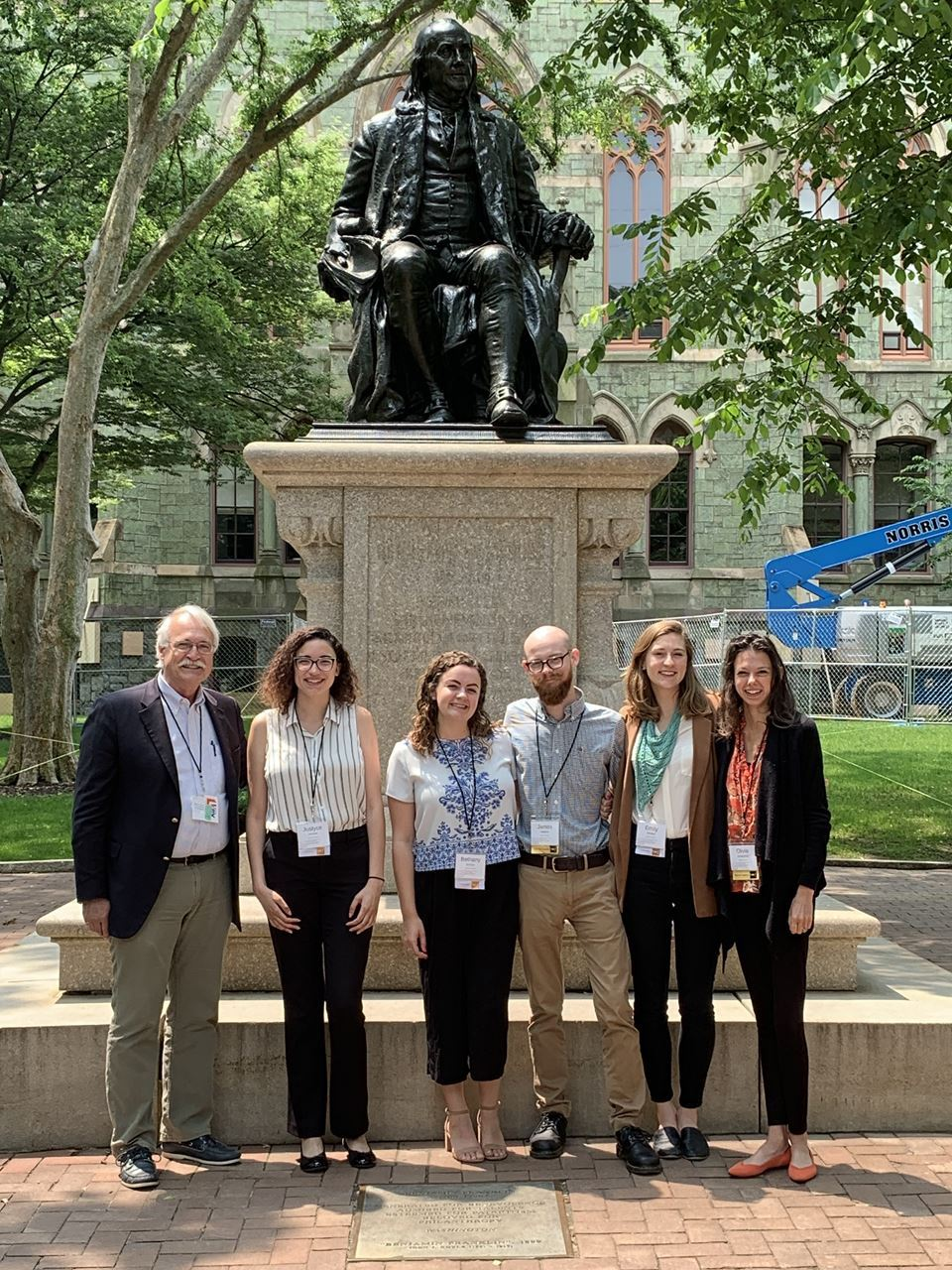 University of Delaware Ambassadors in front of Ben Franklin statue. L to R Ritchie Garrison (Director of Winterthur Program), Justyce Bennett (Winterthur, Class of 2021), Bethany McGlyn (Winterthur, Class of 2020), James Kelleher (Winterthur, Class of 2020), Emily Whitted (Winterthur, Class of 2020), and Olivia Armandroff (Winterthur, Class of 2020)