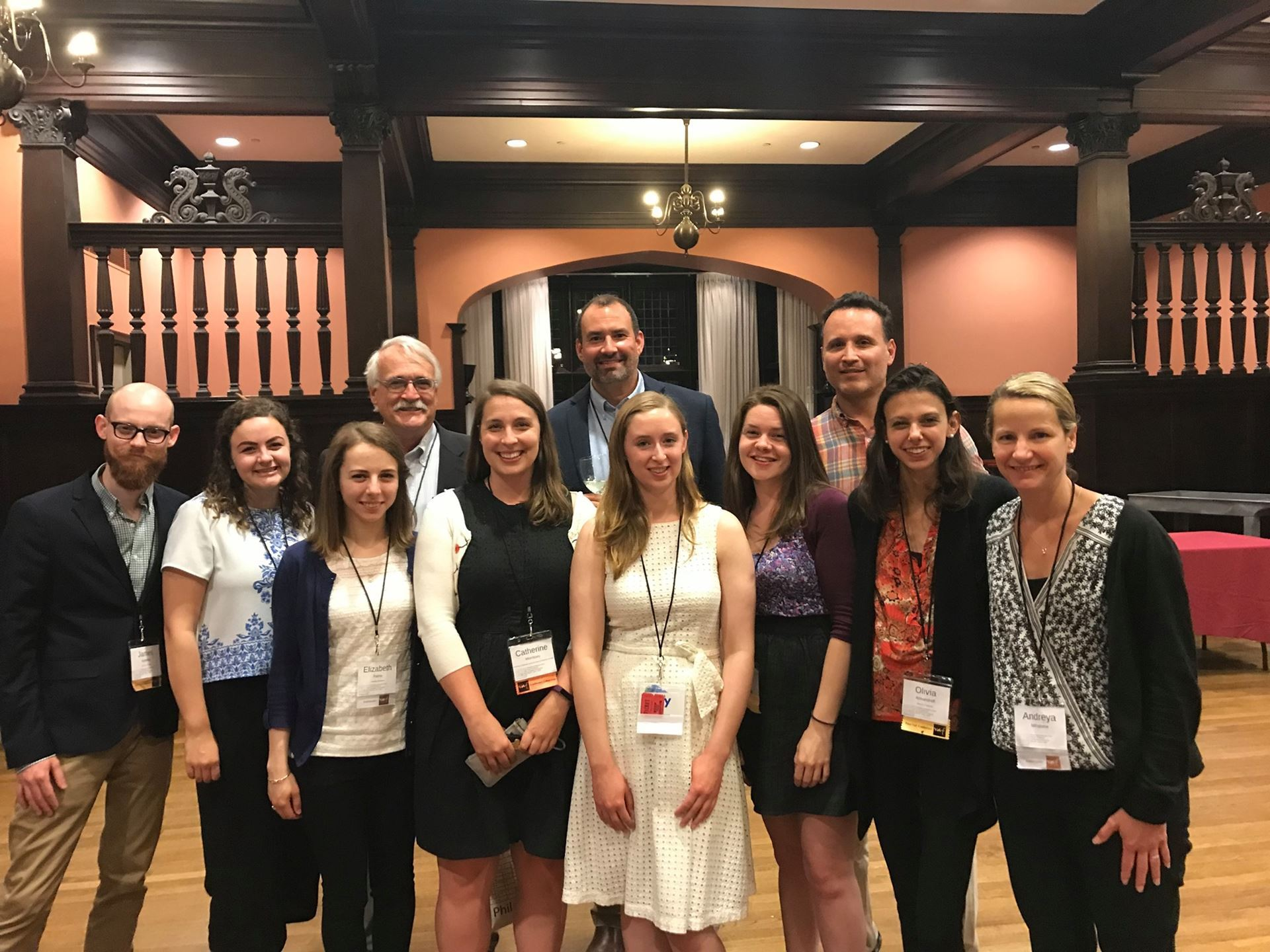 University of Delaware Ambassadors at UPenn. Front Row James Kelleher (Winterthur, Class of 2020), Bethany McGlyn (Winterthur, Class of 2020), Elizabeth Palms (Winterthur, Class of 2020), Catherine Morrissey (CHAD Assistant Director Faculty Sponsor), Mary Fesak (UD-American Civilization PhD), Kimberley Showell (UD-Historic Preservation Graduate Certificate Class of 2019), Olivia Armandroff (Winterthur, Class of 2020), and Andreya Mihaloew (UD-Historic Preservation Graduate Certificate Class of 2019). Back Row Ritchie Garrison (Director of Winterthur Program), Michael J. Emmons, Jr. (CHAD Faculty Sponsor), and Jamie McGee (UD-Historic Preservation Graduate Certificate Class of 2019)